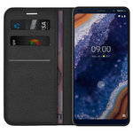 Leather Wallet Case & Card Holder Pouch for Nokia 9 PureView - Black